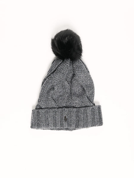 Ralph Lauren Cappello con pon pon in ecopelliccia Grigio Trymeshop.it