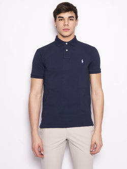RALPH LAUREN-Polo in Cotone Slim Fit Blu-TRYME Shop