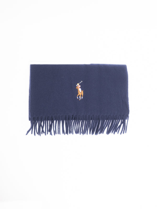 RALPH LAUREN-Sciarpa Big Pony in lana vergine con frange Blu-TRYME Shop