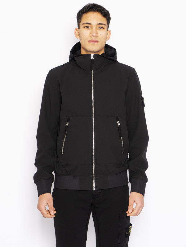 STONE ISLAND-Giubbotto Light Soft Shell Nero-TRYME Shop
