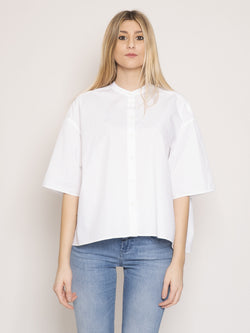 CLOSED-Camicia alla Coreana Over Bianco-TRYME Shop