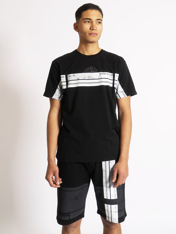STONE ISLAND-T-shirt con Stampa Block One Nero-TRYME Shop
