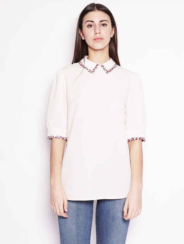 ESSENTIEL-Blusa con Colletto Beige-TRYME Shop