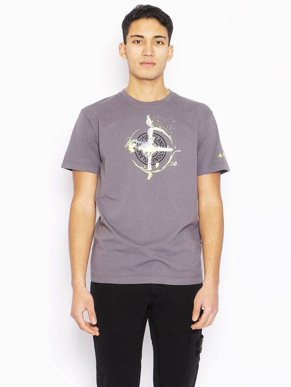 STONE ISLAND-T-shirt con Stampa Logo Peltro-TRYME Shop
