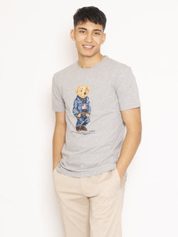 RALPH LAUREN-T-shirt Polo Bear Grigio-TRYME Shop