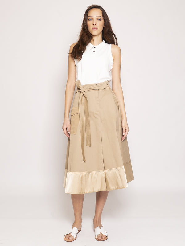 PINKO-Gonna Drill Stretch Lavato - Beige-TRYME Shop