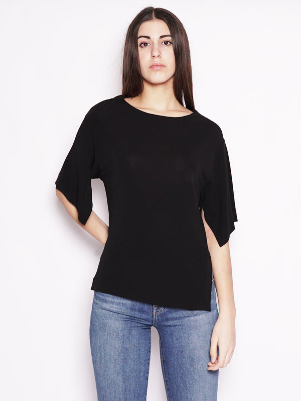 Alpha Studio-Blusa con scollo a barca in viscosa Nero-TRYME Shop