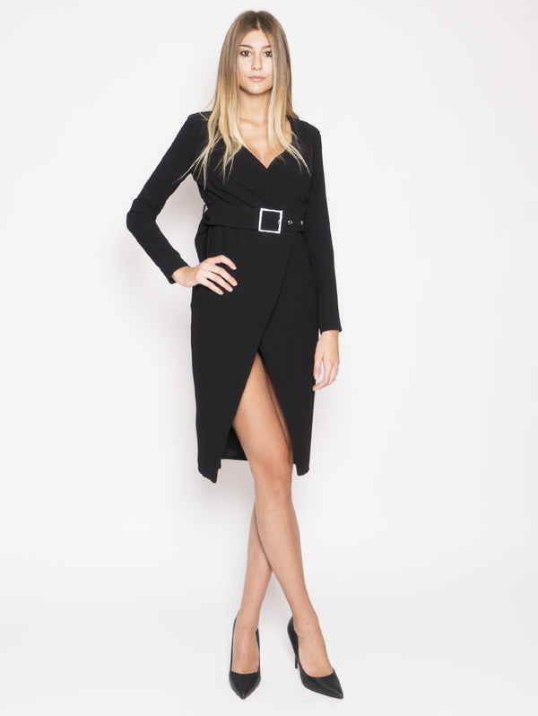 PINKO-Abito Midi con Cintura Magic Nero-TRYME Shop