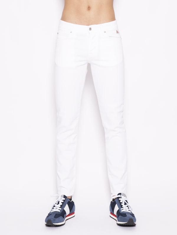 ROY ROGERS-Jeans in Cotone Bull Elasticizzato Bianco-TRYME Shop