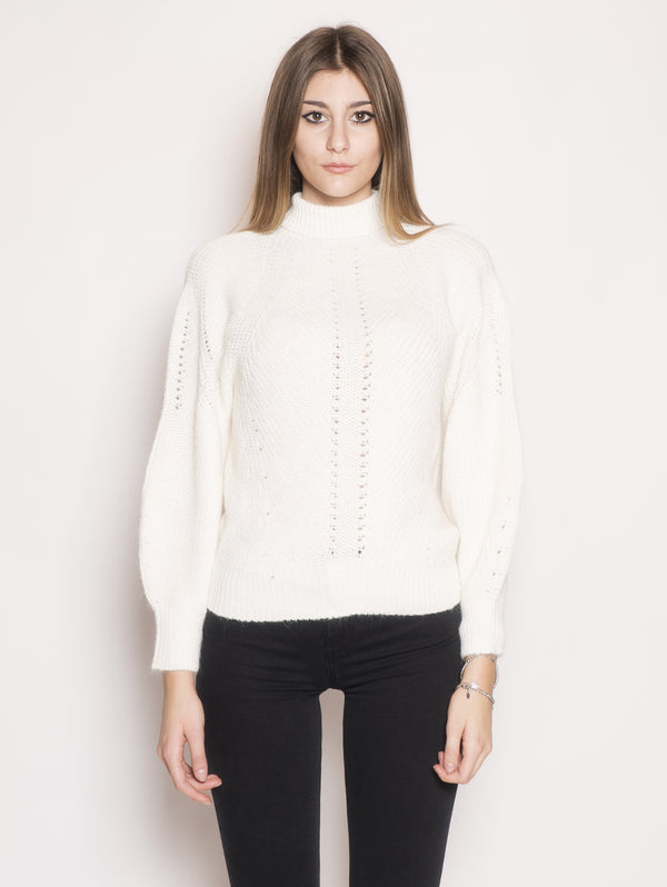 PINKO-Pullover a Costa Inglese Mega Mix Bianco-TRYME Shop