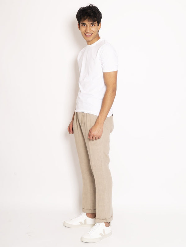 Chino in Lino Beige