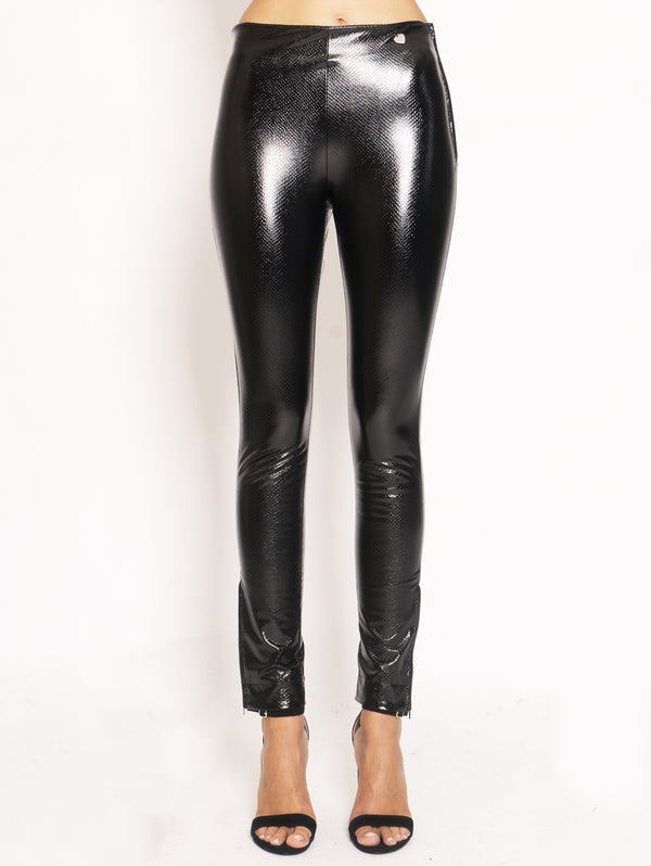 TWIN SET-Leggings in Eco Pelle - Nero-TRYME Shop