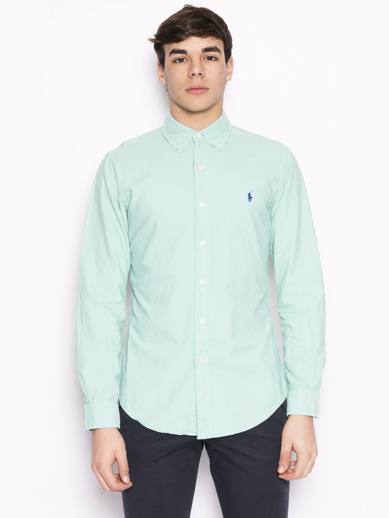 RALPH LAUREN-Camicia Oxford Verde acqua-TRYME Shop