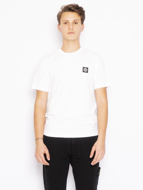 STONE ISLAND-T-shirt con Patch Logo Bianco-TRYME Shop