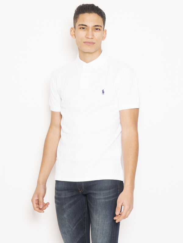 RALPH LAUREN-Polo in Piqué di Cotone Slim FIt Bianco-TRYME Shop