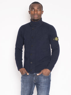 STONE ISLAND-Cardigan in lamdswool 564A3 Blu-TRYME Shop