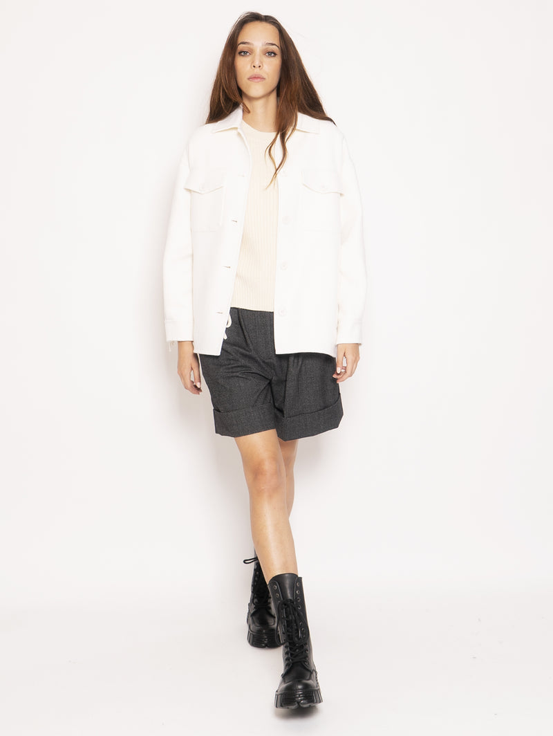P.A.R.O.S.H.-Overshirt in Lana con Frange - Bianco-TRYME Shop