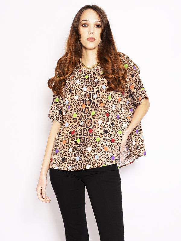 ESSENTIEL-Top con Stampa Leopardata e Pois-TRYME Shop
