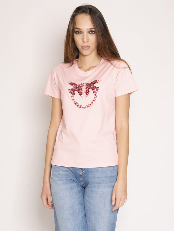 PINKO-T-shirt con Maxi Logo in Strass Rosa-TRYME Shop
