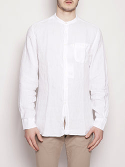 WOOLRICH-Camicia in Lino Bianco-TRYME Shop