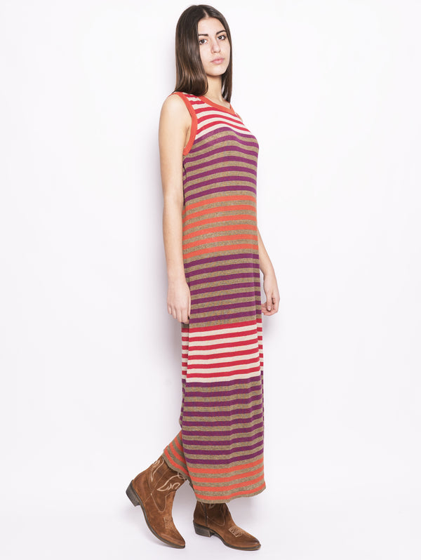 W's Linen Dress - Abito in lino a righe Arancio / Viola / Beige-Abiti-WOOLRICH-TRYME Shop