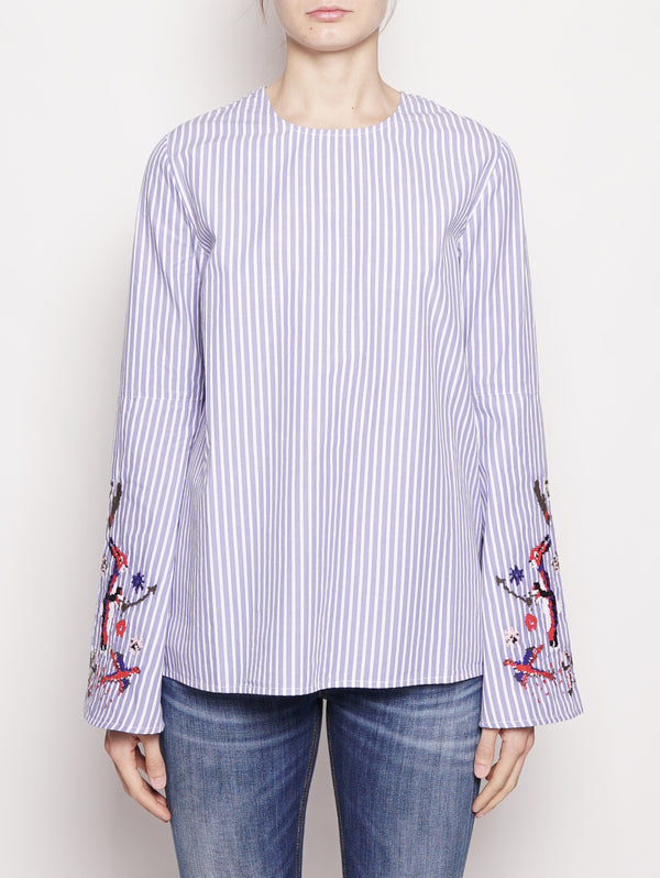 BLUSA - PARADISE LONG SLEEVED Bianco / Celeste-Top-ESSENTIEL-TRYME Shop