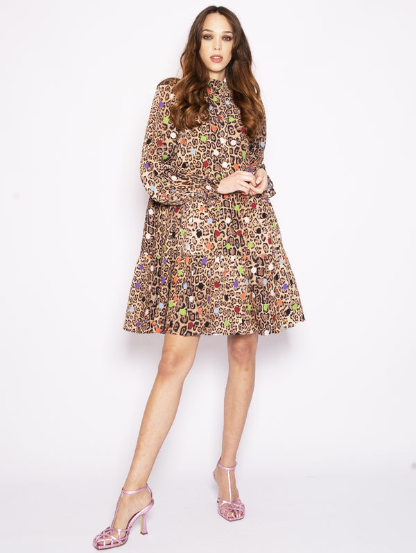 ESSENTIEL-Abito Leopardato con Pois Multicolor-TRYME Shop