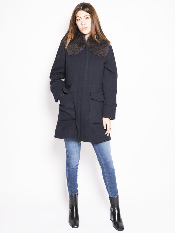 WOOLRICH-Cappotto con Collo in Volpe Blu-TRYME Shop