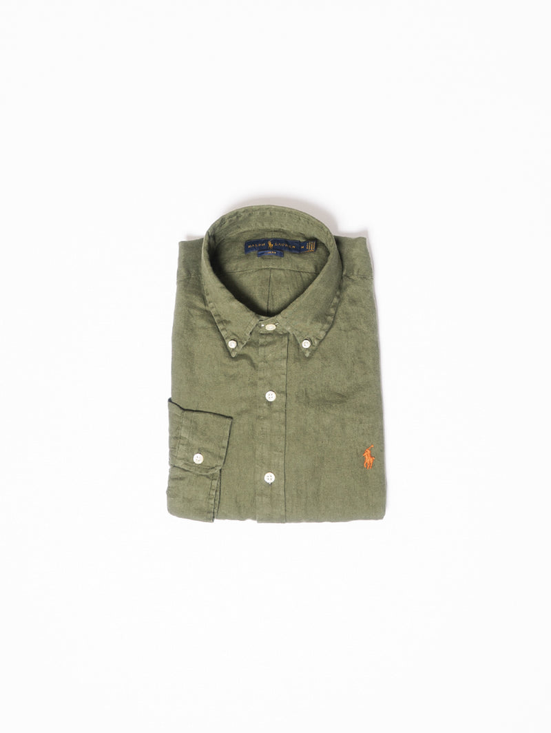 RALPH LAUREN-Camicia in Lino Slim Fit Verde-TRYME Shop