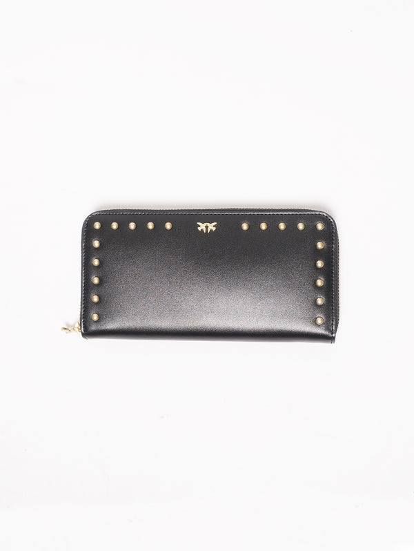 Austin Wallet Zip Around - Portafoglio zip-around in pelle con borchie Nero