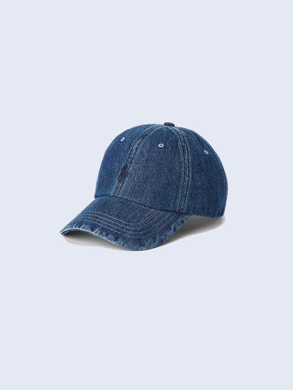 RALPH LAUREN-Cappellino da baseball in denim-TRYME Shop