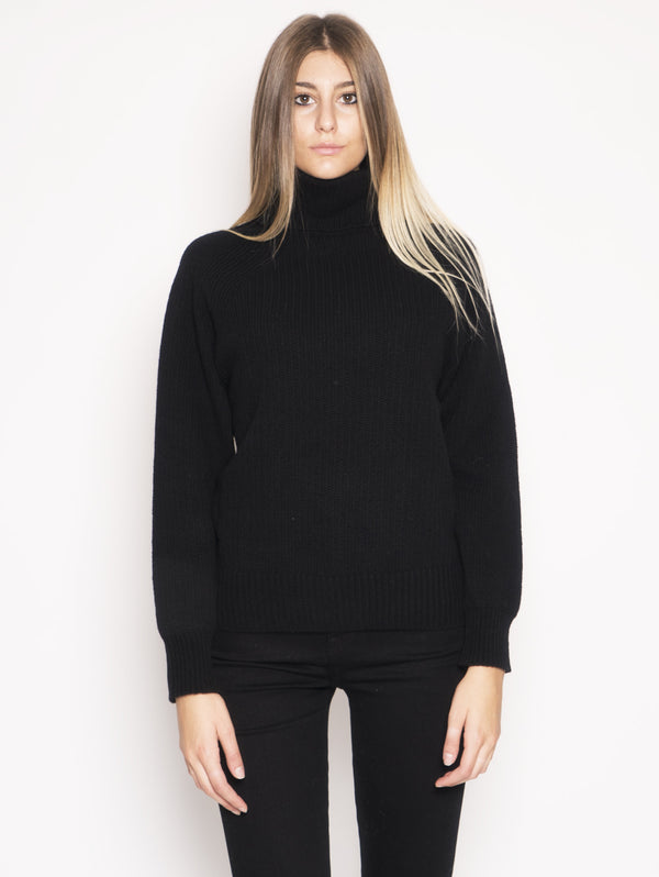 W'S TURTLE NECK Maglione dolcevita RELAXED-FIT Nero