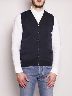 ALPHA STUDIO-Gilet in Cotone Frosted Blu Navy-TRYME Shop