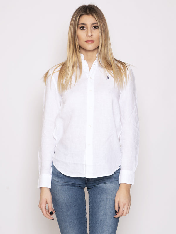 RALPH LAUREN-Camicia in Lino Bianco-TRYME Shop