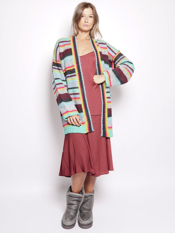 ESSENTIEL-Cardigan a Righe Aperto Multicolor-TRYME Shop