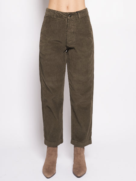 Pantalone in velluto - W's Wide Carduroy P Verde