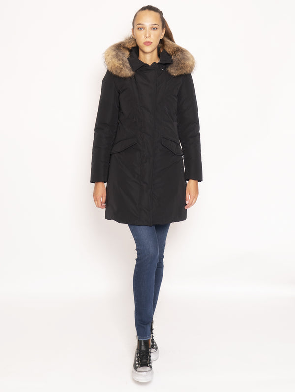 WOOLRICH-Cappotto in City Fabric - Nero-TRYME Shop