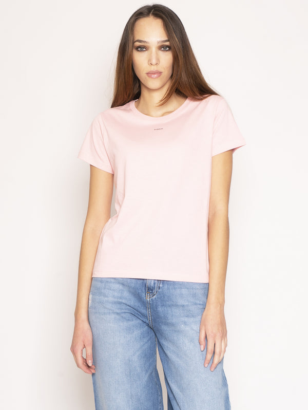 PINKO-T-Shirt Basico con Micro Stampa - Pink-TRYME Shop