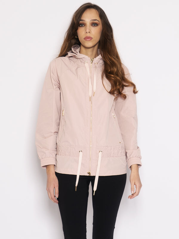 WOOLRICH-Giacca con Cappuccio e Coulisse Rosa-TRYME Shop