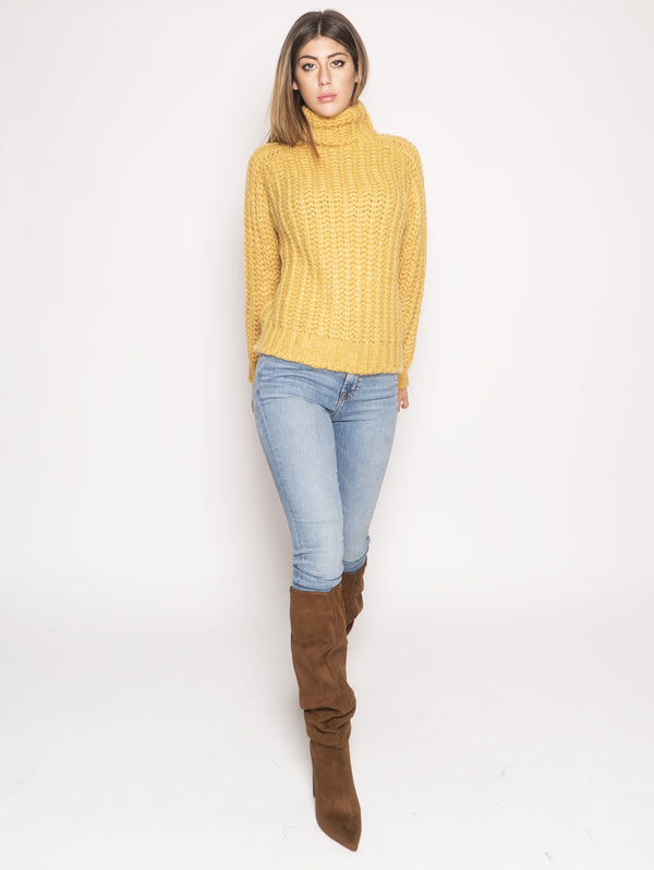 ROY ROGERS-Maglione in Lana Mohair Giallo-TRYME Shop