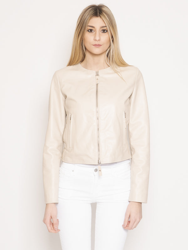PIETRASETA FIRENZE-Giacca in Pelle Collo Chanel Beige-TRYME Shop