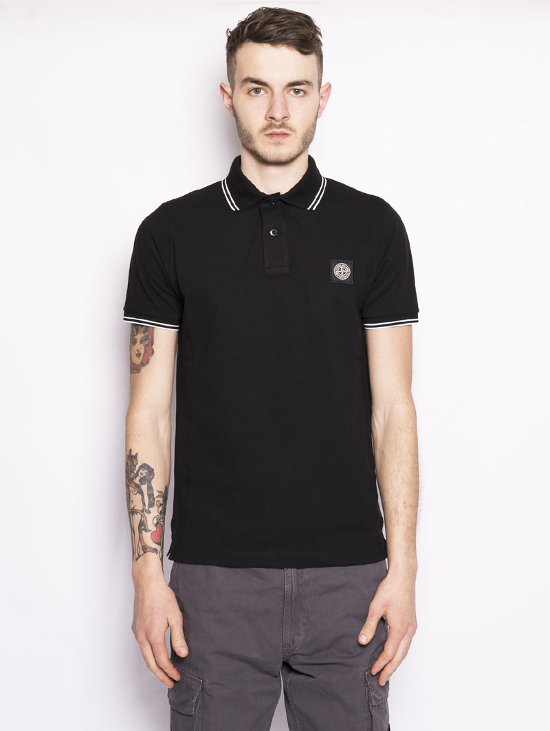 22S18 POLO IN PIQUET DI COTONE Nero-Polo-STONE ISLAND-TRYME Shop