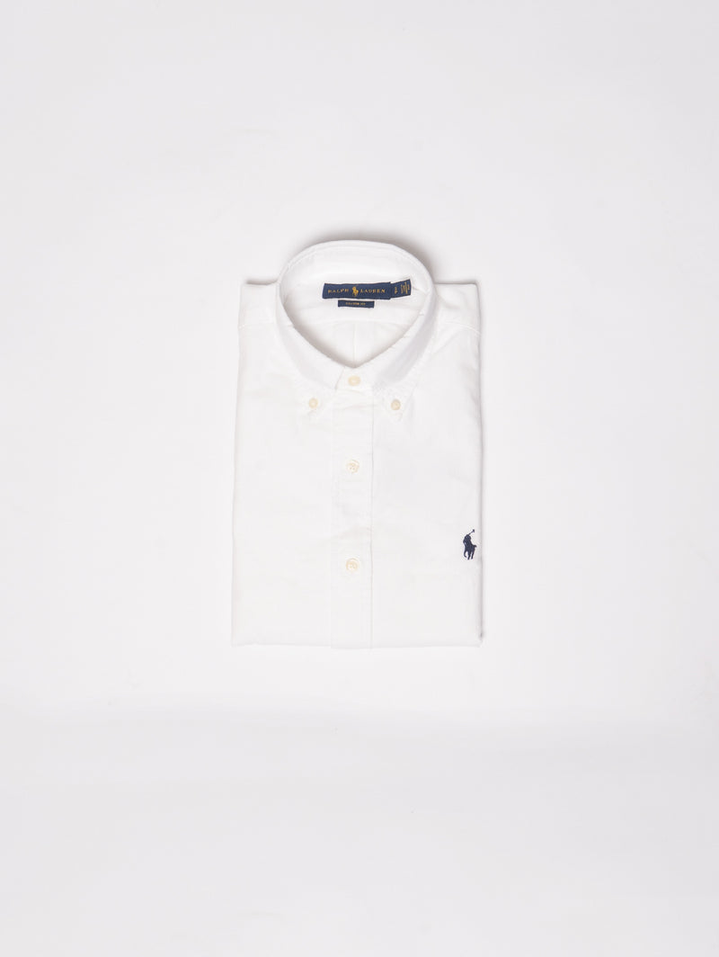 RALPH LAUREN-Camicia Oxford Custom Fit Bianco-TRYME Shop