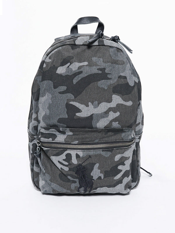 RALPH LAUREN-Zaino Big Pony in tela Camouflage Grey-TRYME Shop