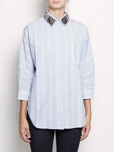 ESSENTIEL Camicia con colletto con strass - OAST2 Celeste Trymeshop.it