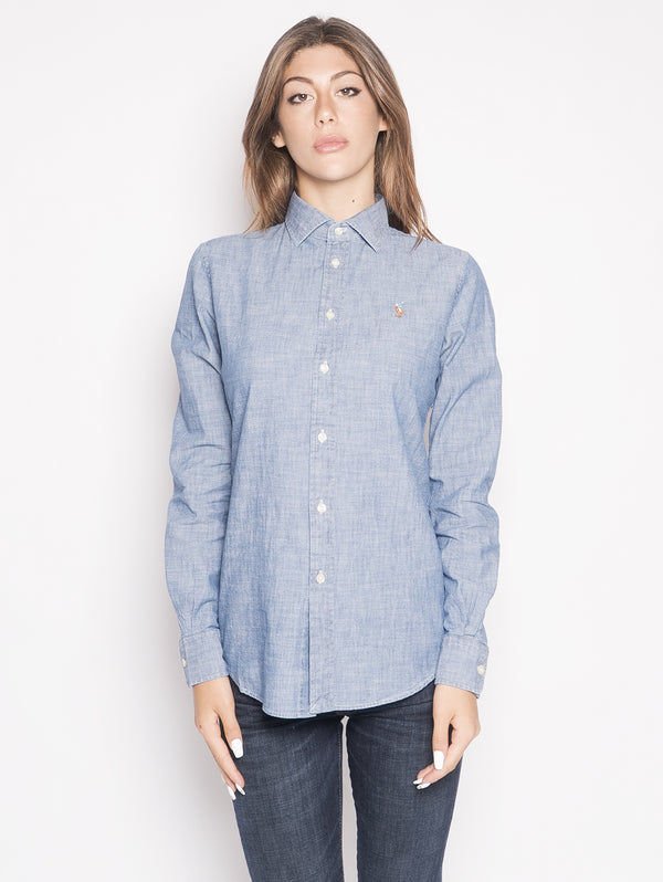 RALPH LAUREN-Camicia in Chambray Blu-TRYME Shop