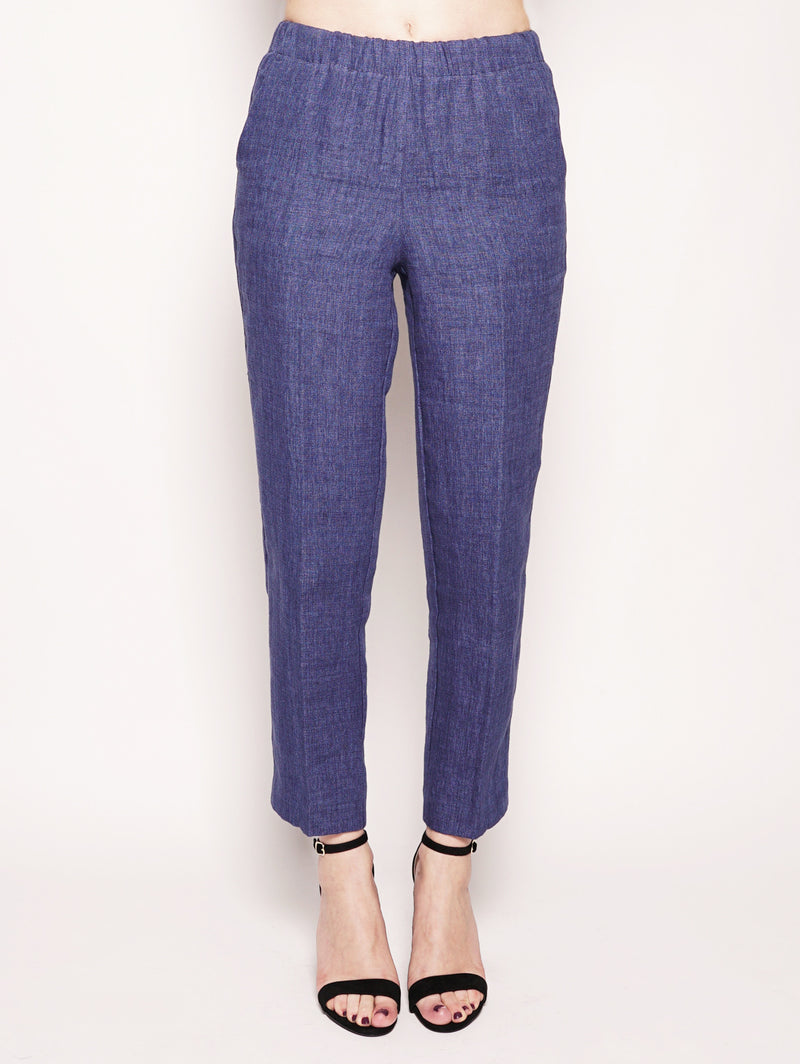 KILTIE-Pantalone Carrot in lino Blu Royal-TRYME Shop