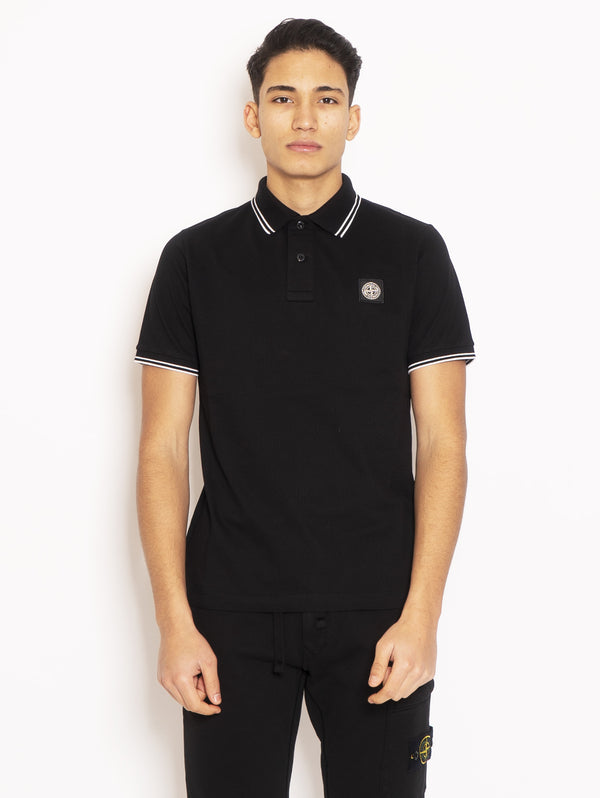 STONE ISLAND-Polo Slim Fit Nero-TRYME Shop