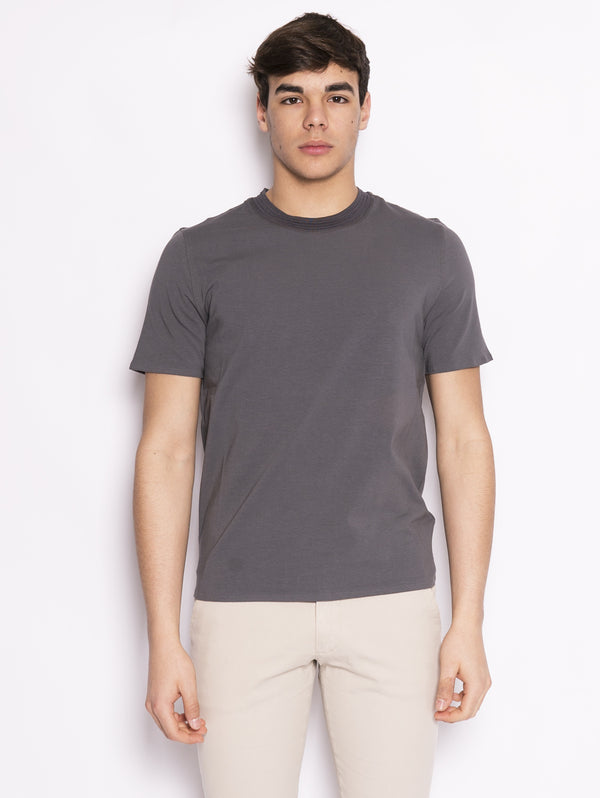 ALPHA STUDIO-T-shirt con Collo in Fettuccia Titanio-TRYME Shop