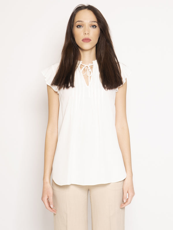 TWIN SET-Blusa con Volant Bianco-TRYME Shop